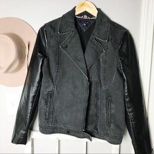 Tommy Hilfiger Black Denim Leather Sleeve Jacket M